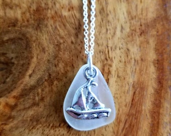 White Sea Glass with Sailboat Charm Necklace