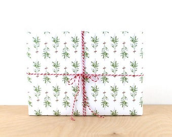 Mistletoe Holiday Gift Wrap, Gift Wrap Paper, Designer Wrapping Paper, Holiday Wrapping Paper, Mistletoe Christmas Gift Wrap, Wrapping Paper