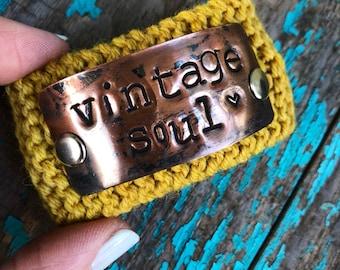Inspirational Vintage Soul Cuff Bracelet, Custom Hand Stamped Bracelet, Mustard Yellow Boho Style Bracelet