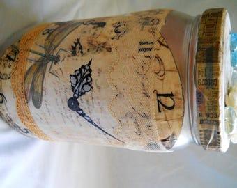 Glass Storage Jar decoupaged with paper,shells, glass bobbles, burlap flowers, butterflies, vintage lace.