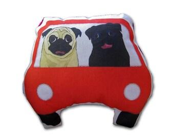 Pug Art Doll - Pugs on a Joy Ride - Red car