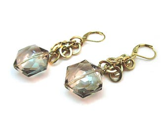 Brass flip-flop chain Dangles with Smoky Quartz Crystals