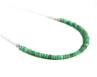 Chrysoprase Beaded Necklace Sterling Silver Natural Gemstone Small Dainty Bright Green Stone Bead Minimal Gemstone Necklace Sea Green #16368