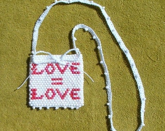 Love = Love Beaded Totem Pouch Medicine Talisman Stash Bag, Love Is Love LGBT Amulet, Beadwoven Seed Bead Art, Bohemian Hippie Fashion fwb