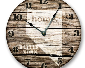 "NEVADA State HOMELAND CLOCK -Battle Born State - Large 10.5"" Wall Clock - Printed Wood Image - NV_FT"
