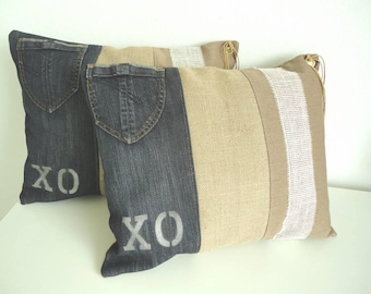 Cushion of upcycled jeans, jute and canvas. Sturdy industrial look.