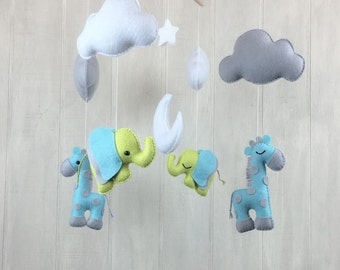Baby mobile - Giraffe and elephant baby mobile - cloud mobile - baby crib mobile -  nursery mobile - crib mobile  - hanging mobile