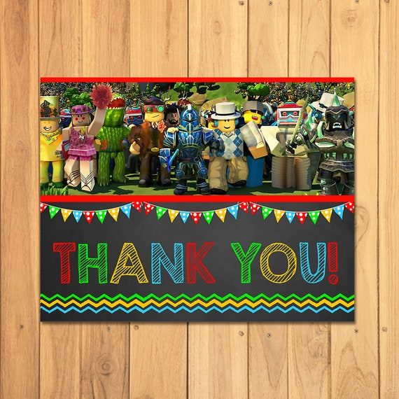 Roblox Thank You Card Chalkboard - Roblox Birthday Party Printables - Roblox Party Favors - Roblox Video Game - Roblox Instant Download