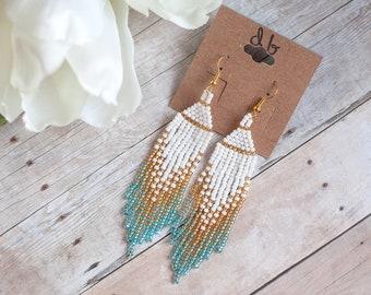 Ariel Blue, Beaded Earring, Seed Bead Earring, Ombre Earring, Mermaid Earring, Native American Earring, Tassel Earring, mother's Day gift