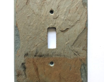Light switch cover, decorative vermont slate, wall plate, switch plate, single toggle, unique