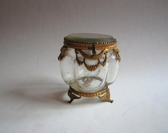 Victorian gold plated beveled glass jewelry casket trinket box