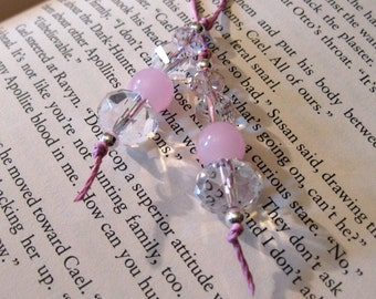 Bubble Gum - Pink Crystal Glass Beaded Bookmark Bookthong Christmas Stocking Stuffer