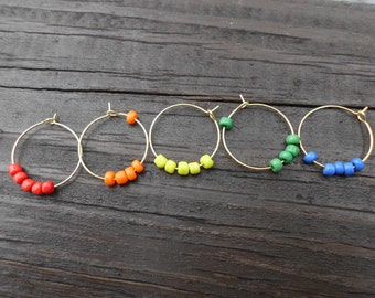 Rainbow wine charms/wine markers/wine glass charms/rainbow/set of 5/rainbow seed beads/red/orange/yellow/green/blue/rainbow pride/gaypride