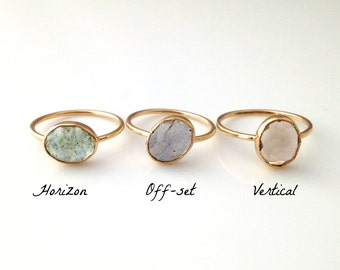 Custom Oval Stacker Ring, Handmade with Recycled 14k gold, Your choice of Aquamarine, Smoky Quartz, Chrysoprase...