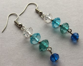Ombre glass earrings - blue ombre earrings - blue glass beads - glass bead earrings - blue beaded earrings