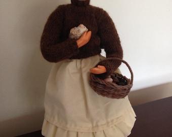 The Mushroom Gatherer (and her hedgehog) Art Doll