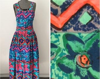 Vintage 80s/90s 'Adini London' blue & purple dress. Size medium