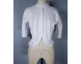 Edwardian Victorian semi sheer white cotton and lace blouse blouse xs
