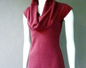 womens sleeveless top - bamboo or merino wool shirt with draped neckline cowl - made to order