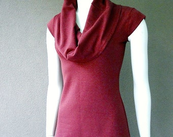 Organic cotton  tunic, berry red or more colors, handmade organic women's clothing