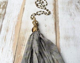 Tassel Pendant Grey Silk Tassel Pyrite Beaded Necklace Gift for Mom Boho Pendant Gift for Her Long Necklace Best Friend Gift