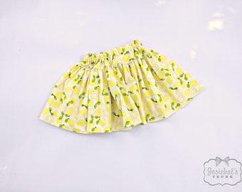 Lemon Party Skirt - Girl Twirl Skirt - Infant Lemonade Skirt - Tween Lemon Yellow Party Skirt - Toddler Lemon Fruit Party 6 month to Girl 16