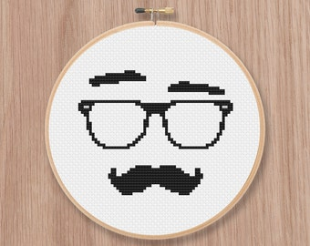 Glasses Guy Cross Stitch Pattern