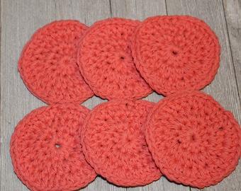 makeup remover pads - 100% cotton scrubbies - facial set - crochet cotton rounds - crochet - facial rounds - facial scrubbies - Set Of 6