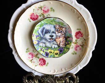 Sweet Love • Puppy & Kitty Dog and Cat • Kitsch • Floral • Repurposed Wall Plate • Dog Lover China • Animal Lover • Pet
