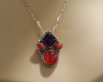 Sterling silver native American carnelian and amythyst pendant