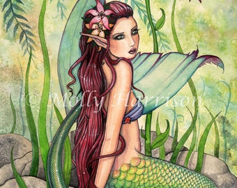 Mermaid Print - Green Lagoon Fantasy Art Print by Molly Harrison 9 x 12