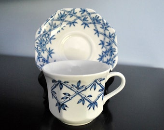 VINTAGE STAFFORDSHIRE BLUE AND WHITE CUP AND SAUCER