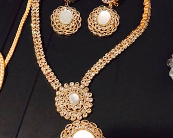 White Indian Jewelry bridal set   Pakistani Jewlery   indian Wedding Jewelry   indian Necklace jewelry Set   Kundan jewelry   bridal Set