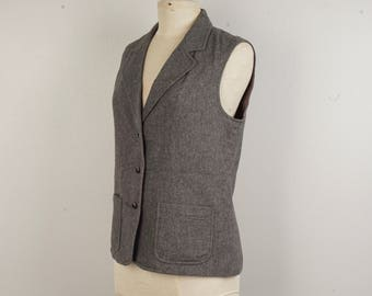 Heather Gray Flannel Vest with Pockets 80s Vintage Button Up Wide Collar Waistcoat