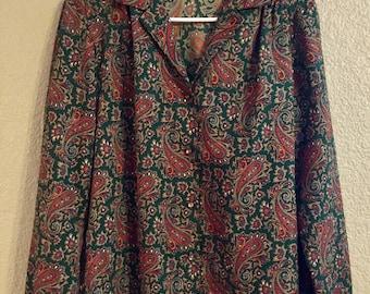 Vintage Levi Strauss & Co. Womenswear Paisley Blouse in Hunter Green