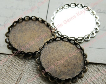 25mm Round Double Lace Edge Cup Settings for Cabochon cab Antique Brass, Bright Silver - 4pcs