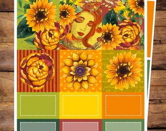 Sunflower Sublime, Mini Kit for use with Erin Condren Vertical LIFEPLANNERS, Planner Stickers, Fall, Watercolor Floral, Harvest, Autumn