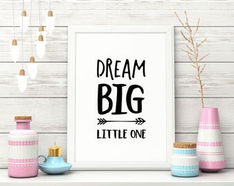 "Nursery Art Print, ""Dream Big Little One"", Cute Wall Decor"