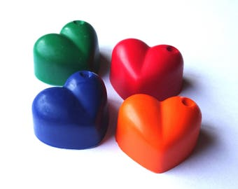 4 Heart Crayons -  Red, Orange, Green and Blue - Novelty Crayons - RECYCLED