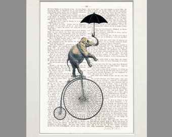 Elephant Acrobat Bicycle Elephant on Bicycle print art poster dictionary art umbrella wall decor elephant illustration giclee print