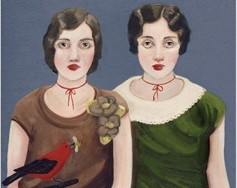 The Bumblebee Sisters Buy A Bird print on fine art paper