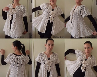 Mesdames cardigan blanc crochet / custom