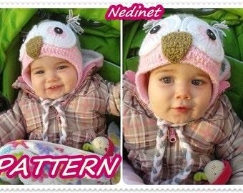 Crochet PATTERN - Owl crochet hat PATTERN