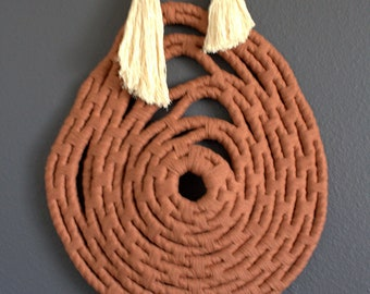 "Woven Wall Hanging ""Spinning no.3"" by HIMO ART, One of a kind Handcrafted Macrame/Rope art"