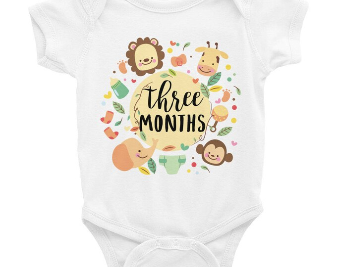 Milestone Onesie ® , Cute Baby Onesie Three Months Cute Animals, Adorable milestones onesies for baby, Month Old onesie, Monthly Bodysuits