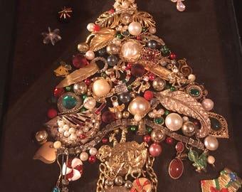 Framed Vintage Jewelry Tree Art in shadow box