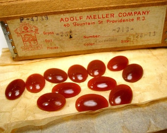 17mm x 12mm Carnelian Oval Glass Cabochon ( 12 Pcs) Jewelry Supply 1950s from Czechoslovakia, Price is for ONE Dozen