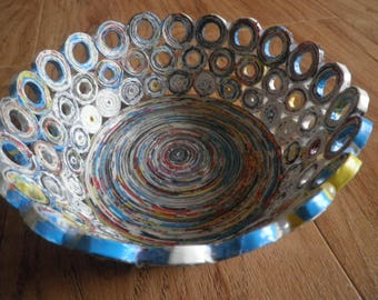 Recycled magazine bowls basket, home decor, unikat, eco friendly, 1st anniversary gift