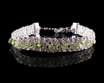 Gemstone Bracelet, Beaded Bracelet, Sterling Silver Bracelet, Peridot Jewelry, Handmade Jewelry, Gift for Her