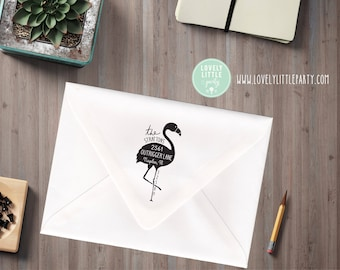 Flamingo return address stamp, Flamingo Theme Large Custom Address Stamp, Flamingo Gift style 1001 - Lovely Little Party
